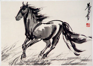 Un caballo negro