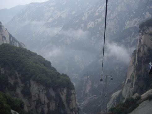 Funicular que asciende al monte Hua