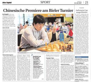 Foto de Buxiangzhi durante el torneo de Biel (Bienne) en Suiza este año.