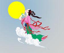 Chang'e volando hacia a la luna.
