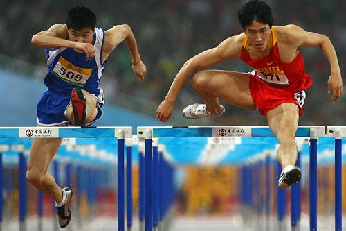 El corredos chino liuxiang en acción.